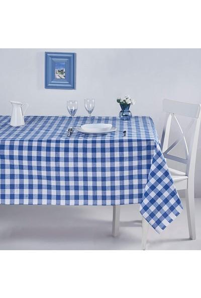 Derinteks Mavi Kareli 140 x 180 cm Gündelik Kullanım Masa Örtüsü