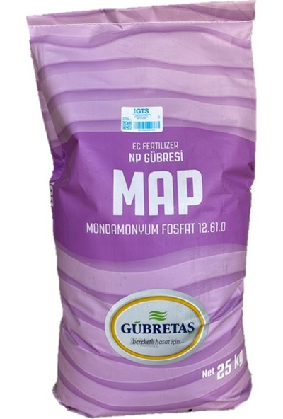 Gübretaş Map 12 61 Monoamonyum Fosfat Tutum Arttırıcı Yaprak Damla Sulama Azot Fosfor Gübresi 25 kg