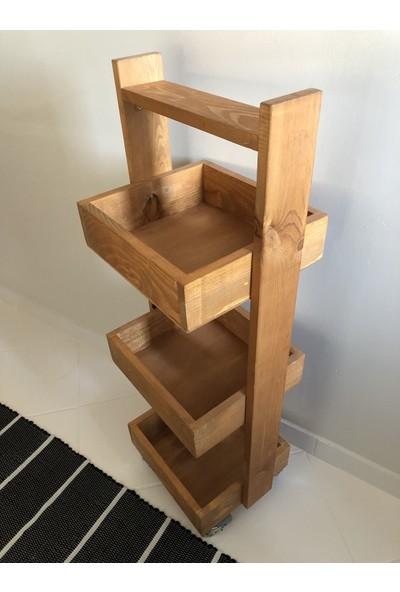 Wood Log Art Studio Masif Ahşap Çok Amaçlı Düzenleyici Raf Sandık
