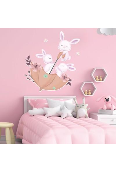 Dijitalya Sevimli Tavşanlar ve Şemsiye   Çocuk Odası   Dekoratif Duvar Sticker   Duvar - Dolap  