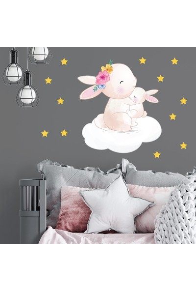 Dijitalya Anne Tavşan ve Yavru Tavşan | Çocuk Odası Dekoratif Duvar Sticker | Duvar - Dolap |