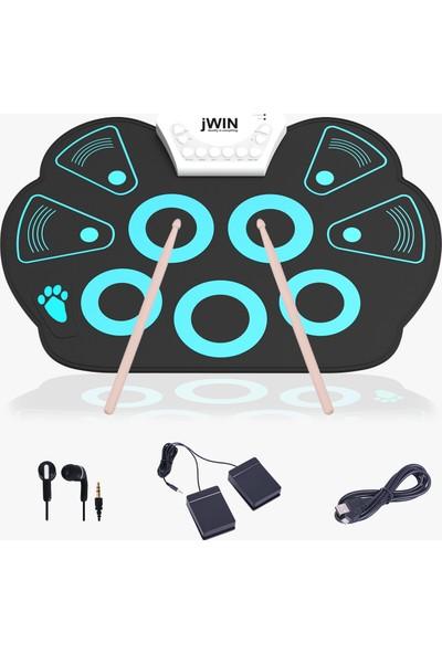Jwin JD-201 9 Pedli Dijital Davul Seti - Mavi