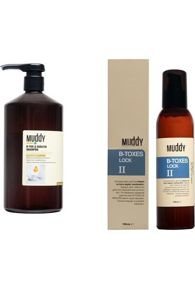 Muddy Aşırı Yıpranmış Saçlara B-Tox Keratin Şampuan 1000 ml + Durulanmayan Bakım Kremi B-Toxes Lock II 190 ml