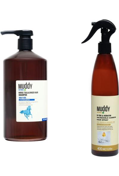 Muddy Dökülme Önleyici Horse Tail Şampuan + Onarıcı Bakım İçin B-Tox Keratin Carbon Spray 400 ml