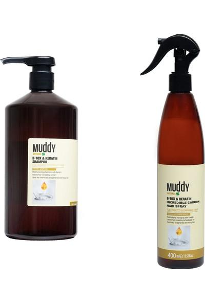 Muddy Aşırı Yıpranmış Saçlara B-Tox Keratin Şampuan 1000 ml + B-Tox Keratin Onarıcı Spray 400 ml