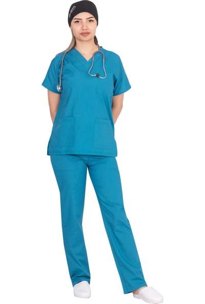 Şirin A Medikal Hemşire Forması Likralı V Yaka Cerrahi Bayan Takım Petrol Mavisi L
