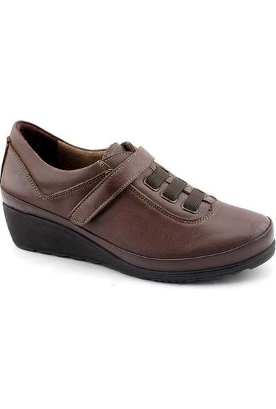 Evida 2432 Hakiki Deri Kadın Ayakkabı-Vizon