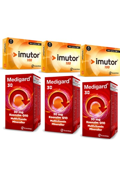 Eczacıbaşı Imutor Beta Glukan 100 Mg 30 Kapsül ve Medigard Vitamin Mineral Kompleks COQ10 30 Tablet Seti x 3 Adet
