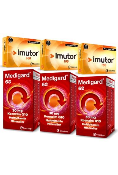 Eczacıbaşı Imutor Beta Glukan 100 Mg 30 Kapsül ve Medigard Vitamin Mineral Kompleks COQ10 60 Tablet Seti x 3 Adet