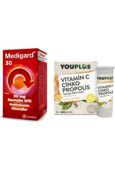 Eczacıbaşı Medigard Vitamin Mineral Kompleks COQ10 30 Tablet ve Youplus Vitamin C Çinko Propolis 20 Efervesan Tablet Seti