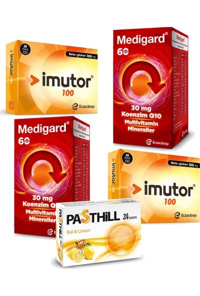 Eczacıbaşı Imutor Beta Glukan 100 Mg 30 Kapsül ve Medigard Vitamin Mineral Kompleks COQ10 60 Tablet Seti x 2 Adet + Pasthill 1 Adet Portakal & C Vitamini 24 Drops Hediye