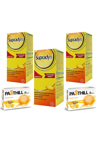 Supradyn Koenzim Q10 60 Tablet x 3 Adet + Pasthill 2 Adet Portakal & C Vitamini 24 Drops Hediye
