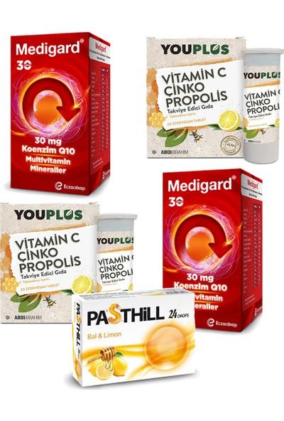 Eczacıbaşı Medigard Vitamin Mineral Kompleks COQ10 30 Tablet ve Youplus Vitamin C Çinko Propolis 20 Efervesan Tablet Seti x 2 Adet + Pasthill 1 Adet Portakal & C Vitamini 24 Drops Hediye
