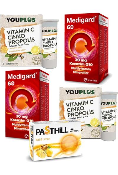 Eczacıbaşı Medigard Vitamin Mineral Kompleks COQ10 60 Tablet ve Youplus Vitamin C Çinko Propolis 20 Efervesan Tablet Seti x 2 Adet + Pasthill 1 Adet Portakal & C Vitamini 24 Drops Hediye