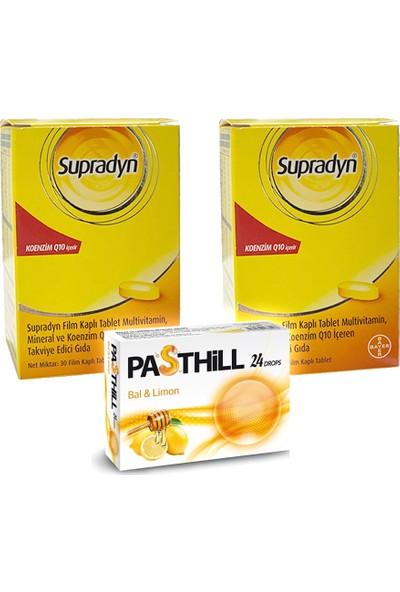 Supradyn Koenzim Q10 30 Tablet x 2 Adet + Pasthill 1 Adet Portakal & C Vitamini 24 Drops Hediye