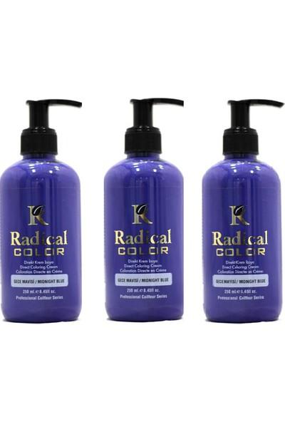 Radical Color Su Bazlı Saç Boyası Gece Mavisi 250 ml x 3