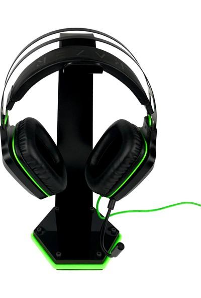 Oyuncu Kulaklık Standı, Kulaklık Askısı, Kulaklık Tutacağı (Metal - Ahşap - Pleksi) Yeşil