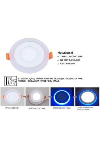 Aral 6+3WATT Beyaz+Mavi Çift Renkli LED Panel Armatür