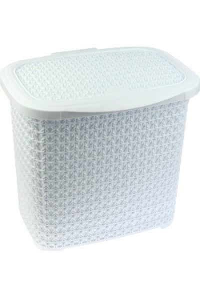Arma House Örgü Desenli Beyaz Rengi Plastik Deterjan Kutusu 10 lt