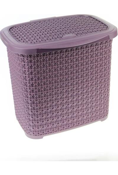 Arma House Örgü Desenli Mürdüm Rengi Plastik Deterjan Kutusu 10 lt
