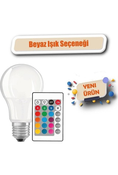 Netodak Uzaktan Kumandalı Rgb LED Ampul 9W E27 Tasarruflu Dimmerli LED Lamba 16 Ton Işık
