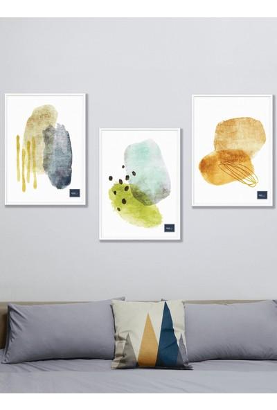 Persowall Turuncu Sarı Mavi - 3'lü Özel Tasarım Çerçeveli Dekoratif Poster Tablo Seti