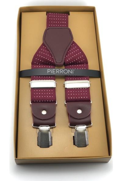 Pierroni Bordo Beyaz Noktalı Pantolon Askısı