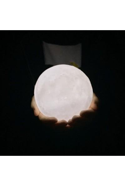 Bbc Standlı Ay Gece Lambası Dekoratif Küre Beyaz Renk