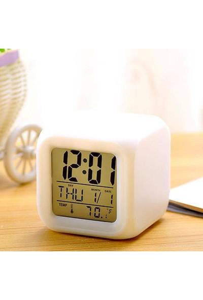 Bbc Ev Ofis Masa Saati 7 Renk Değiştiren Dijital Küp Alarmlı Çalar