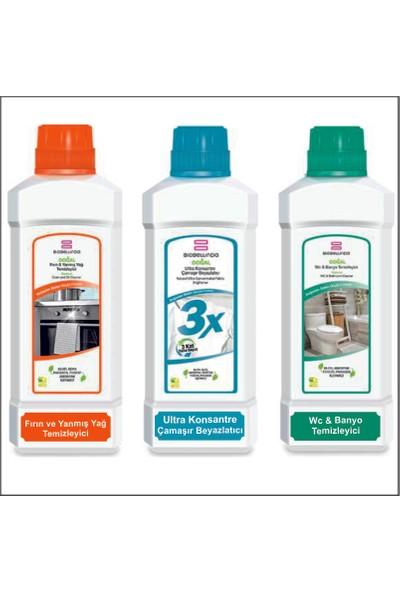 BioBellinda 3x Çamaşır Beyazlatıcı 750 Gr + Fırın ve Yanmış Yağ Temizleyici 1000 ml + Wc Banyo Temizleyici 1000 ml