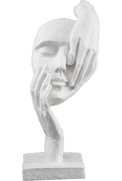 Lumier Yüz Figürlü Boyanabilir Dekoratif Ham Polyester
