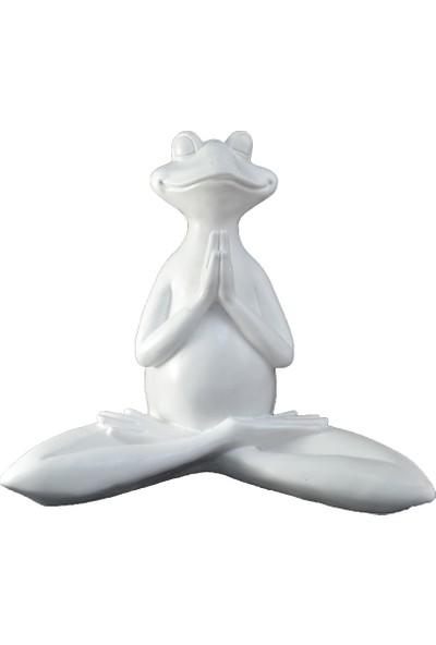 Lumier Meditasyon Kurbağası Figürlü Boyanabilir Dekoratif Ham Polyester
