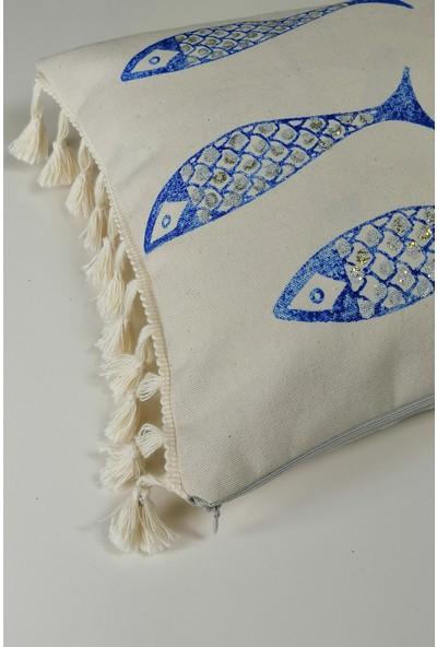 Heybelioda Keten Balık Desen El Boyama Özel Tasarım Dekoratif Yastık Kırlent Kılıfı