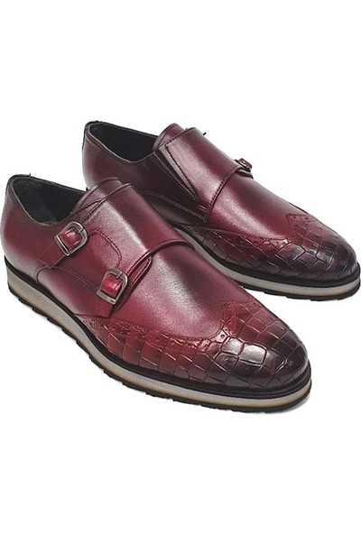 King West Erkek Deri Ayakkabı - Bordo - 40