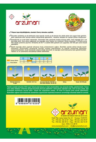 Arzuman Cherry Tipi Pinpon Domates Tohumu 250 Adet
