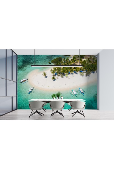 Penta Havadan Tropikal Sahil Duvar Posteri SEA54302 180 x 120 cm