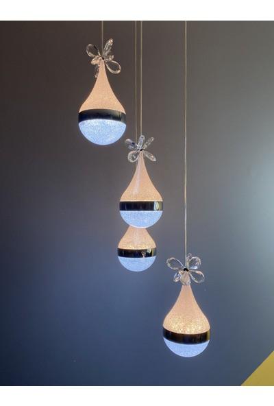 Luence Bern Kristalli Ledli Üç Kademeli Sarkıt Avize Krom