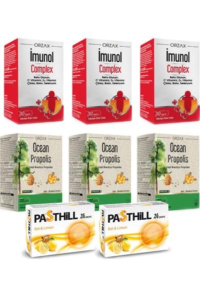 Orzax Imunol Complex 30 Kapsül ve Ocean Propolis 20 ml Seti x 3 Adet + Pasthill 2 Adet Portakal & C Vitamini 24 Drops