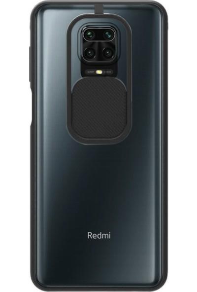Caseart Xiaomi Redmi Note 9s Kapak Lensi Açılır Kapanır Kamera Korumalı Silikon Kılıf - Siyah