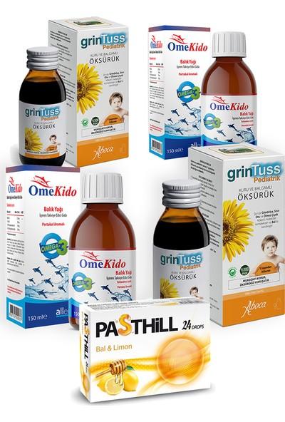 Allergo Omekido Omega 3 Balık Yağı 150 ml ve Grintuss Bitkisel Şurup 100 ml - Çocuklara Özel Seti x 2 Adet + Pasthill 1 Adet Portakal & C Vitamini 24 Drops