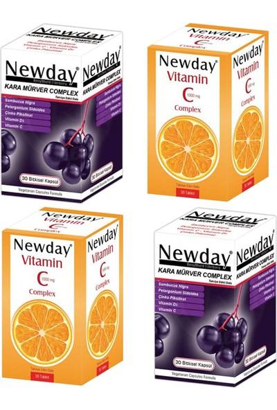 RC FARMA Newday Vitamin C Complex 30 Tablet ve Kara Mürver Complex 30 Kapsül Seti x 2 Adet