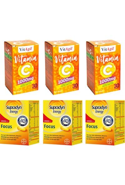 Supradyn Energy Focus 30 Tablet ve Allergo Vitagil Vitamin C 1000 Mg 30 Tablet Seti x 3 Adet