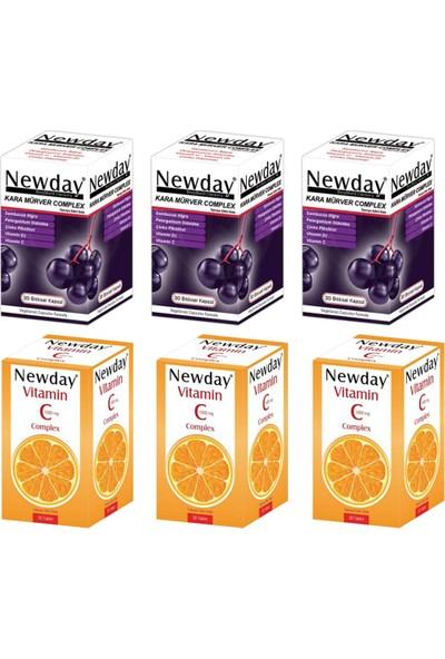 RC FARMA Newday Vitamin C Complex 30 Tablet ve Kara Mürver Complex 30 Kapsül Seti x 3 Adet