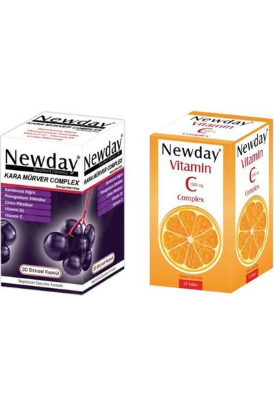 RC FARMA Newday Vitamin C Complex 30 Tablet ve Kara Mürver Complex 30 Kapsül Seti