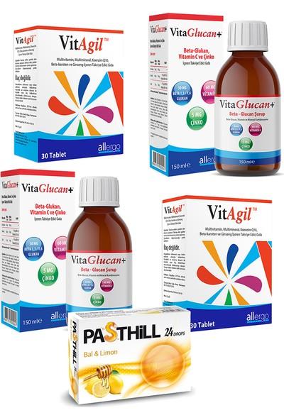 Allergo Vitagil Multivitamin-Mineral 30 Tablet ve Vitaglucan Beta-Glucan Vitamin Şurup 150 ml Seti x 2 Adet + Pasthill 1 Adet Portakal & C Vitamini 24 Drops