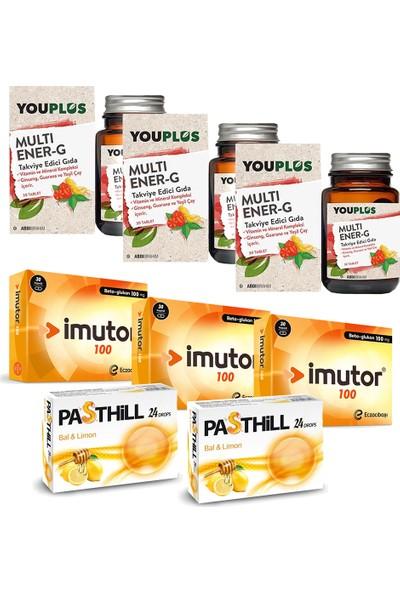 Eczacıbaşı Imutor Beta Glukan 100 Mg 30 Kapsül ve Youplus Multi Ener-G Multivitamin 30 Tablet Seti x 3 Adet + Pasthill 2 Adet Bal & Limon 24 Drops