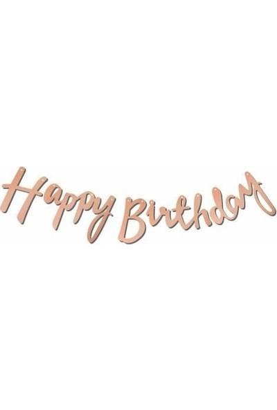 Deniz Party Store Kaligrafi Banner Rose Happy Birthday