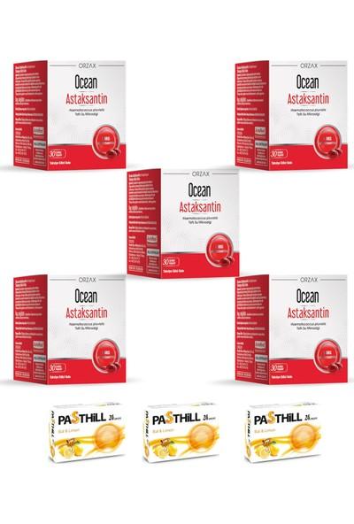 Ocean Astaksantin Doğal Antioksidan 30 Kapsül x 5 Adet + Pasthill 3 Adet Bal & Limon 24 Drops