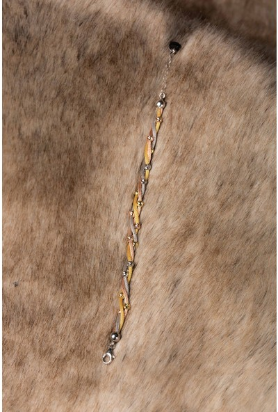 Hiç Gümüş Dorika Üç Renk Burma Gümüş Altın Kaplama Kadın Gümüş Bileklik 925 Ayar