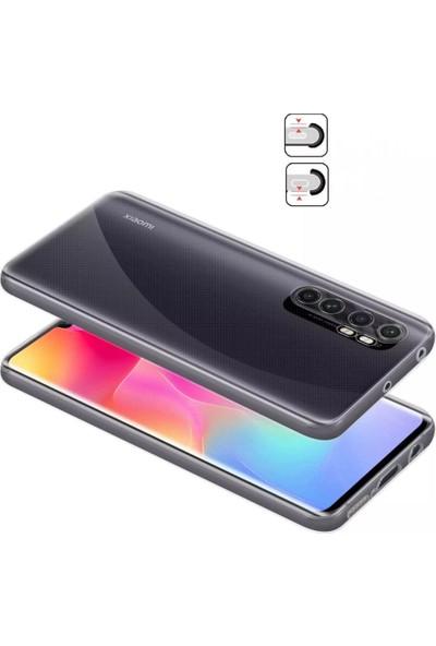 Kny Huawei P40 Lite E Kılıf Şeffaf Lüx Kamera Korumalı Silikon + Cam Ekran Koruyucu